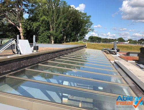 Twin S.E.R.F. installed externally to large roof light at a private school in Egham, Surrey